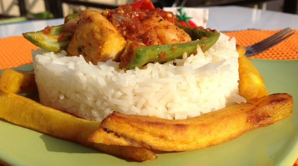 Chicken And Okro Stew With Buttered Rice And Dodo Top Nigerian Food Blog