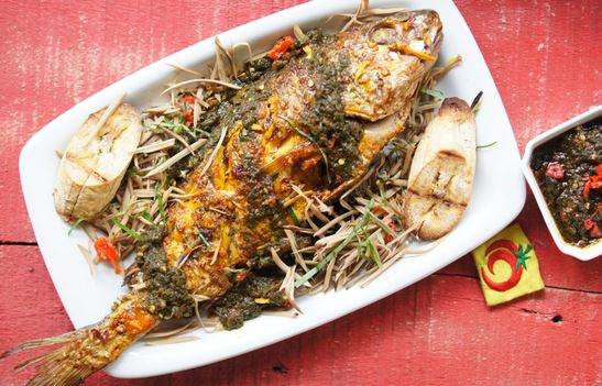 Grilled croaker fish with ugba and uziza utazi sauce top for Croaker fish recipe